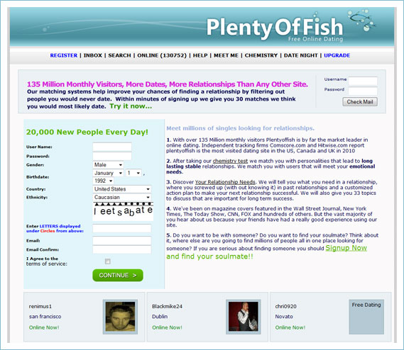 Evolution home page for Plenty of fish contact