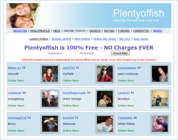 Evolution home page for Plenty of fish site